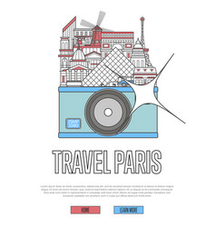 Travel paris poster with camera vector