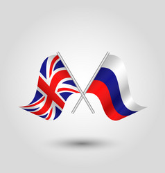Two crossed british and russian flags vector