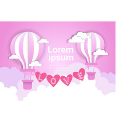 valentine day background with air balloons over vector image