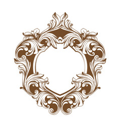 Vintage baroque frame heart shape card vector