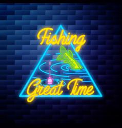 Vintage fishing emblem glowing neon vector
