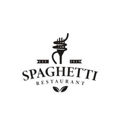 Vintage hipster retro spaghetti pasta noodle logo vector
