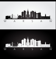 Warsaw skyline and landmarks silhouette vector