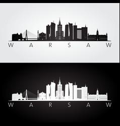warsaw skyline and landmarks silhouette vector image