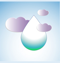 water drop surrounded by clouds vector image