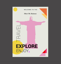 welcome to the christ the redeemer rio de janeiro vector image
