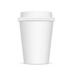 white blank coffee cup mockup front view vector image