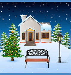 winter night background with house wood bench and vector image