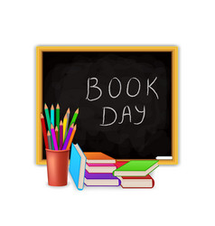 world book day concept with blackboard and school vector image