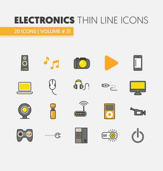 electronics technology thin line icons set vector image