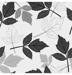 Gray seamless pattern with leaves vector image vector image