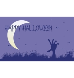 Hand zombie and moon silhouette vector image