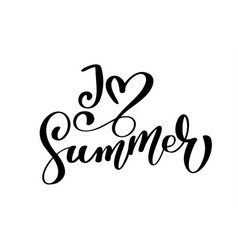 i love summer text hand drawn lettering vector image