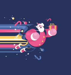 santa claus with bag of gifts flying vector image vector image
