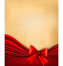 Vintage background with old paper with red gift vector image