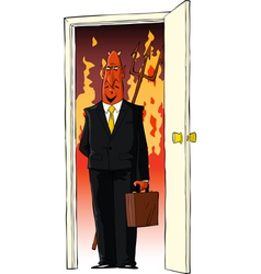 devil in the door vector image vector image