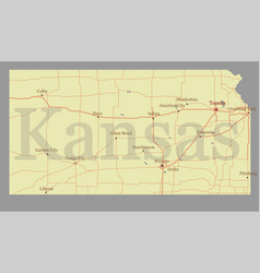 kansas accurate exact detailed state map with vector image vector image