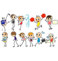 People doodles vector image vector image