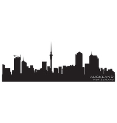 auckland new zealand skyline detailed silhouette vector image