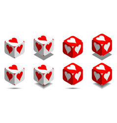cube with card heart in red and white colors vector image vector image