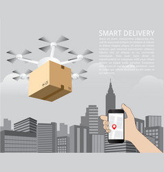drone delivery concept quadcopter vector image