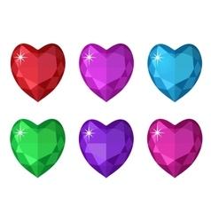 Jewelry heart set Gemstones hearts shaped vector image vector image