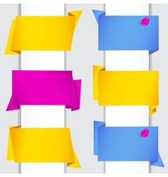 origami banners with pushpins vector image