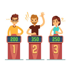 people answering questions and pressing buttons on vector image vector image