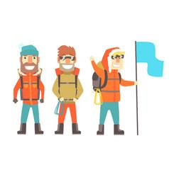 three mountain climbers with mountain climbing vector image