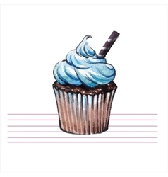 Watercolor cupcakes Hand drawn retro style vector image vector image