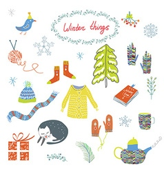 Winter and Christmas symbols set - funny design vector image vector image