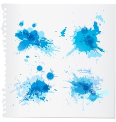 Abstract blue watercolor paint splats vector image vector image