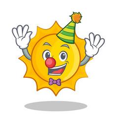 clown cute sun character cartoon vector image