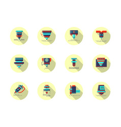 laser machines round flat color icons vector image