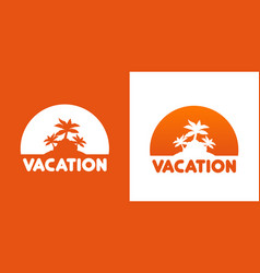 round icon with palm trees vector image vector image