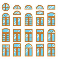 set of vintage wood or wooden window frames view vector image