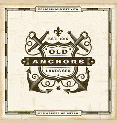 vintage old anchors label vector image