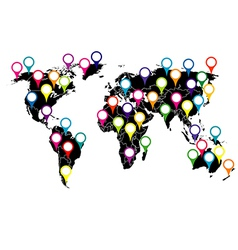 World map with colored pointers vector image