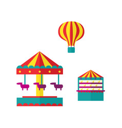 amusement park objects icon set vector image