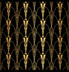 art deco pattern seamless black and gold vector image