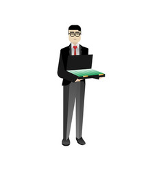 Asian investor with open suitcase vector