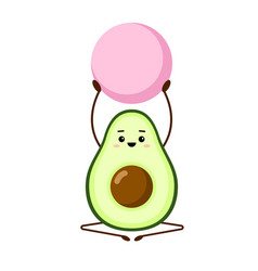 avocado yoga with pink fitball character vector image