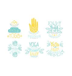 ayurvedic medicine studio labels set enjoy yoga vector image