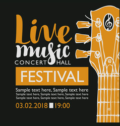 banner for festival live music with a guitar neck vector image vector image