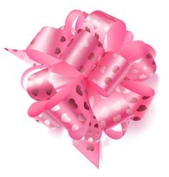 Big bow made of ribbon with small hearts vector