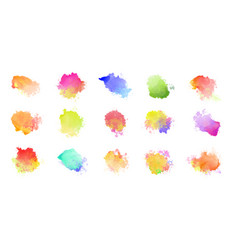 Big set watercolor colorful stains vector
