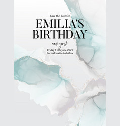 Blue green save date birthday invitation card vector