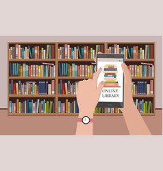 bookshelve with books on phone screen vector image