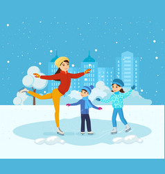 Boy and girl ride on ice mom shows master class vector
