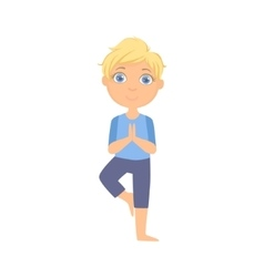 Boy in tree pose vector